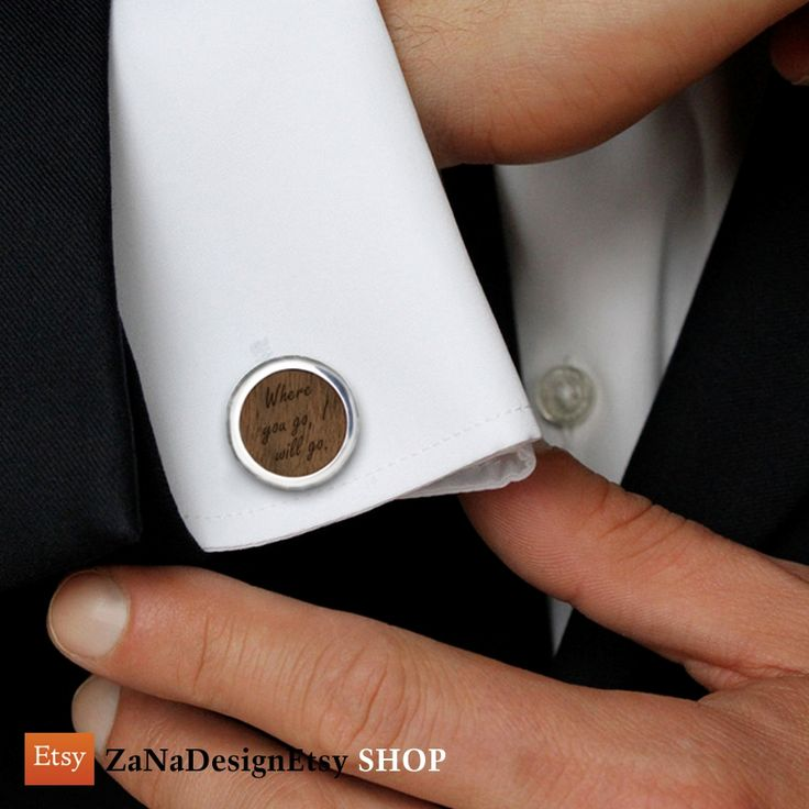 Personalized Cufflinks, Custom Cufflinks Sterling silver American walnut Cufflinks with your personal dedication. FREE engraving great for Gift Idea, Birthday Gift, Groom, Wedding or any special occasion.