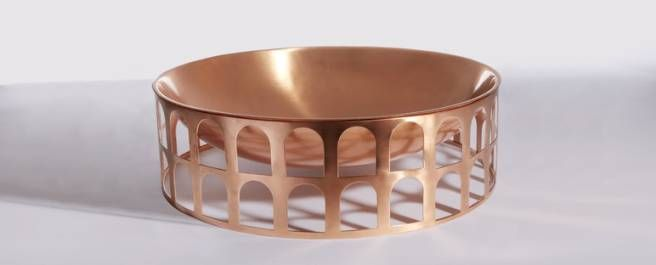 Copper fruit bowl. That copper brass color just for it for us even on fruit bowls. We love the pattern unusual for us as it's not typically our style. It just seems a shame to put fruit in this bowl.