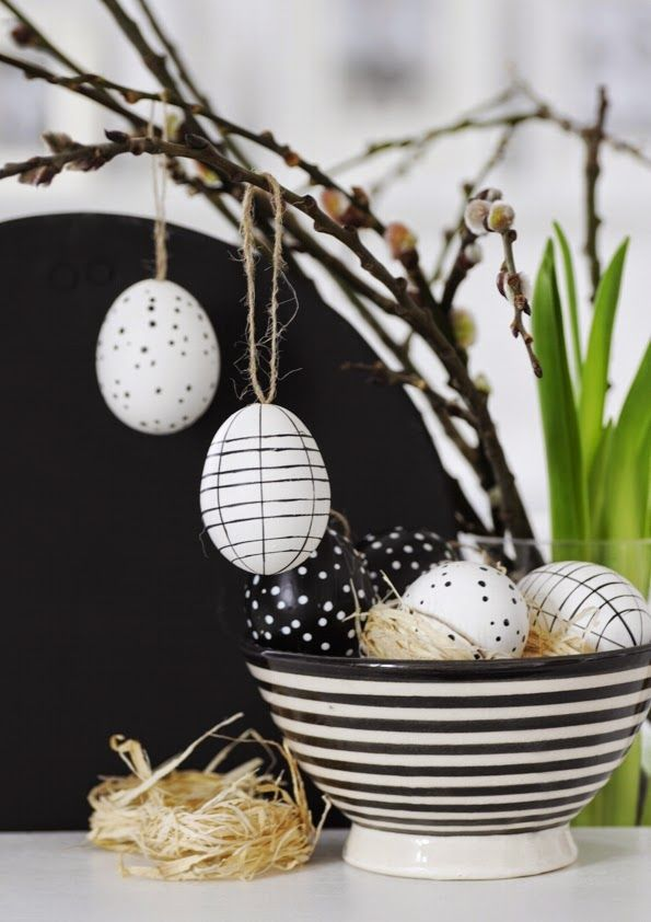 easter decoration! love the black and white eggs