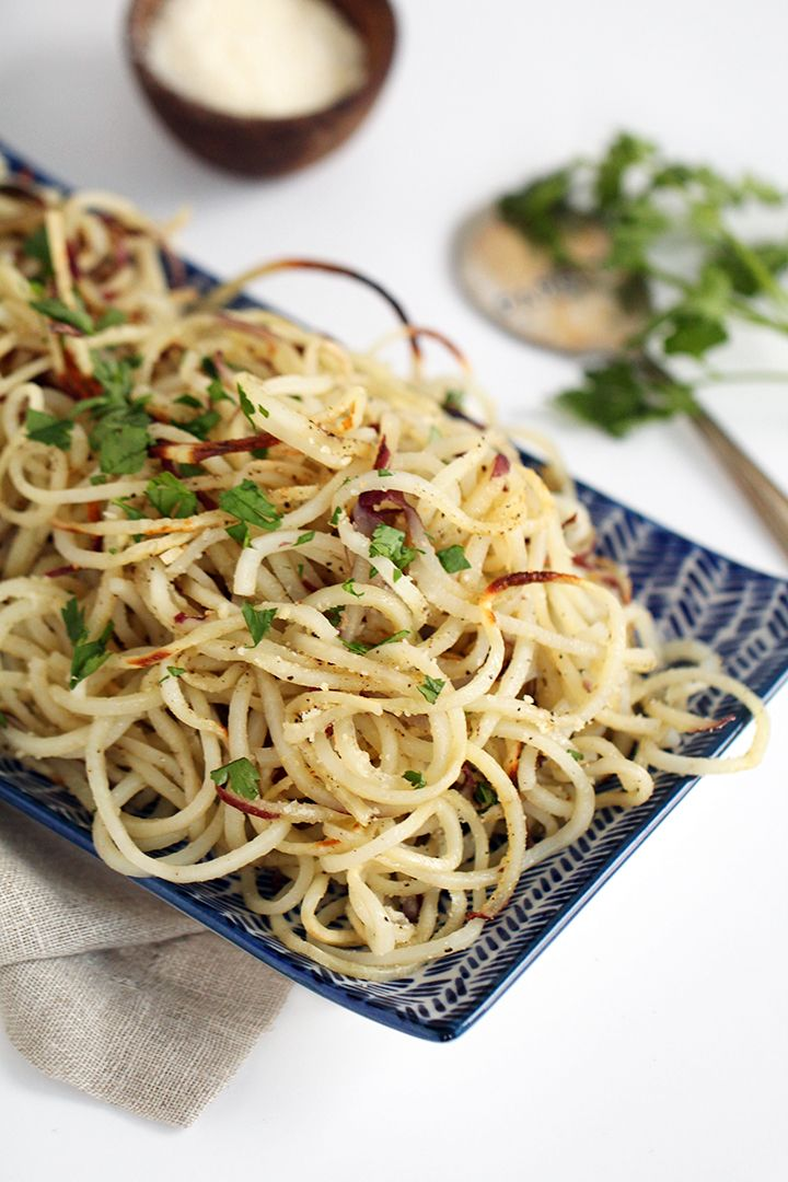 Spiralizer - Easy Roasted Garlic-Parmesan Potato Noodles by inspiralized. Great with steak chicken, fish.