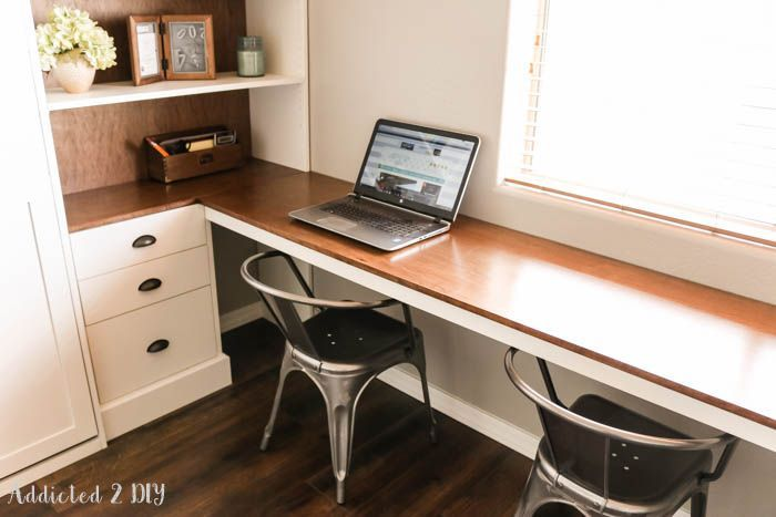 DIY Modern Farmhouse Murphy Bed - How To Build The Desk (Free Plans!)
