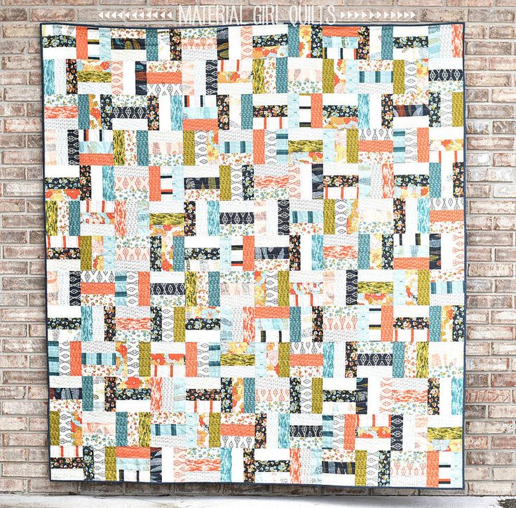 Nomad Jelly Roll Rail Fence quilt and tutorial by Amanda Castor of Material Girl Quilts Love this 2 jelly roll rail fence.