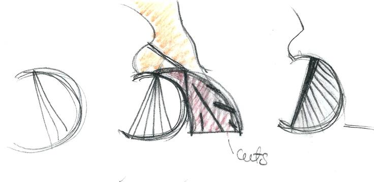 Heel Jewel Shoe drawing by Alessia Semeraro / London Architecture inspiration _ bridge//