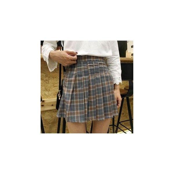 Plaid Pleated Skirt ($14) ❤ liked on Polyvore featuring skirts, women, brown pleated skirt, tartan plaid pleated skirt, tartan skirt, knee length pleated skirt and pleated skirt