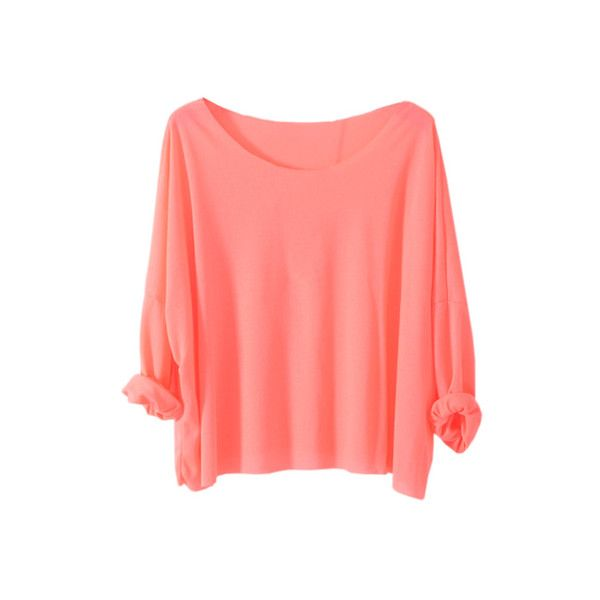Brief Style Batwing Sleeves Watermelon-red T-shirt ($35) ❤ liked on Polyvore featuring tops, t-shirts, shirts, sweaters, red top, crop shirts, red t shirt, round top and bat sleeve shirt