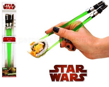 Sushi I like. Yoda was known for his great wisdom, mastery of the force and lightsaber skills. Our Yoda Lightsaber Chopsticks look just like mini lightsabers that are suitable for eating sushi or defending the galaxy! The lightsaber blade is cast in a green translucent plastic and looks just like Yodas lightsaber! Measuring 8 inches long, these chopsticks are suitable for children or adults! Difficult to see. Always in motion is the future. Measures 8 inches long. Plastic.