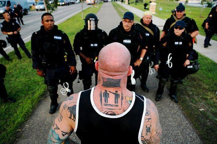 MMA fighter & IWW member Jeff Monson (the IWW sabo-cat is tattooed on his shoulder)