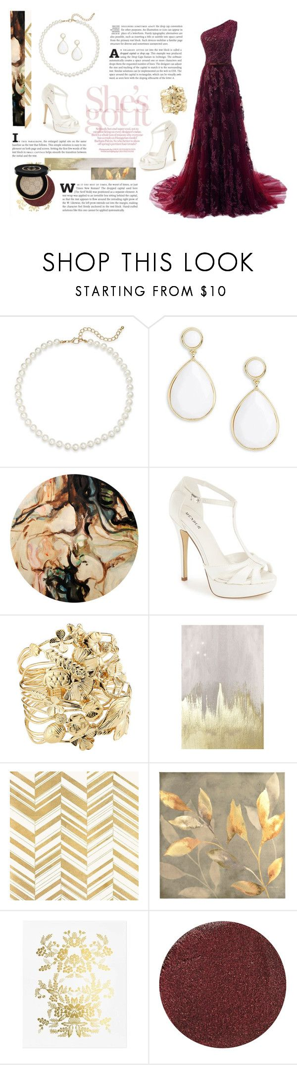 """""""fever"""" by imaginativedeath ❤ liked on Polyvore featuring Saks Fifth Avenue, Trina Turk, Menbur, Aurélie Bidermann, Oliver Gal Artist Co., Home Decorators Collection, Rifle Paper Co, AERIN and Gucci"""