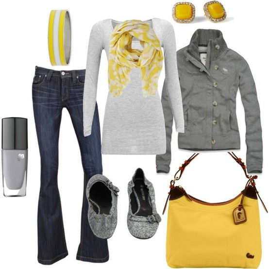 Gray and Yellow. Perfect for fall. Love the jacket!