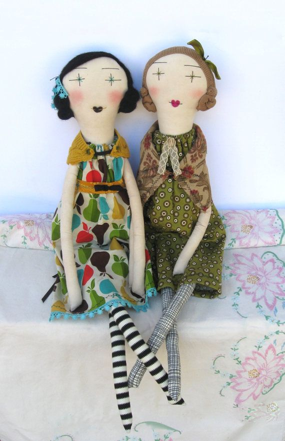 Sweet Delilah: Handmade Rag Doll - 24 Inch One-of-a-Kind Cloth Doll - Mustard Teal Apples Pears. $120.00, via Etsy.