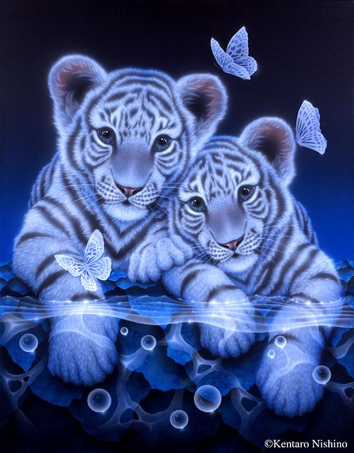 """Together"" White Tiger    116.7 × 90.9cm, Acrylic on canvas, 2014  Gallery Bigcats2 - Art of Kentaro Nishino"