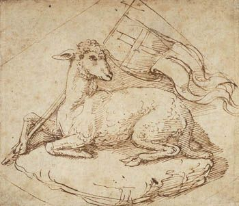 Agnus Dei -- The Lamb of God   by Giulio Romano, ink on paper c.1540
