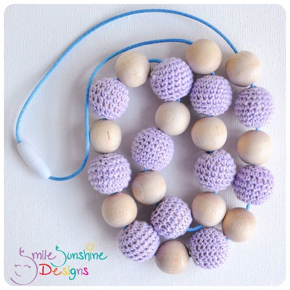 Crochet Bead and Wood Teething Necklace or by SmileSunshineDesigns