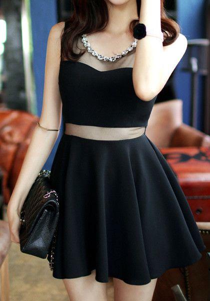 Black Mesh Beads Neckline Dress