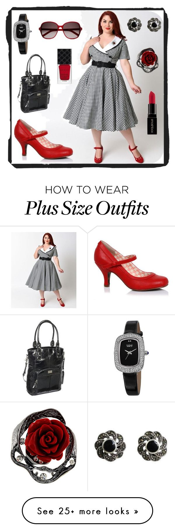 """Plus Size - Vintage Professional"" by elise1114 on Polyvore featuring Hell Bunny, Clark & Mayfield, NOVICA, bürgi, Yves Saint Laurent, Gucci, Smashbox and vintage"