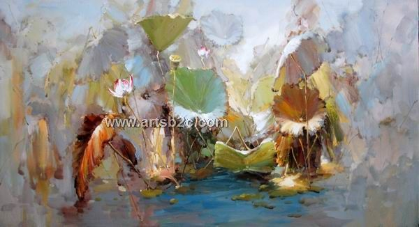 Impression lotus oil painting OP-FL1-9 - paintings for sale,cheap oil paintings supply