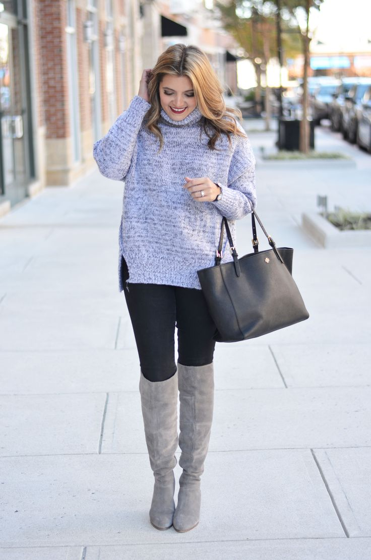 oversized turtleneck outfit - oversized gray turtleneck sweater with black jeans and gray over the knee boots | www.bylaurenm.com