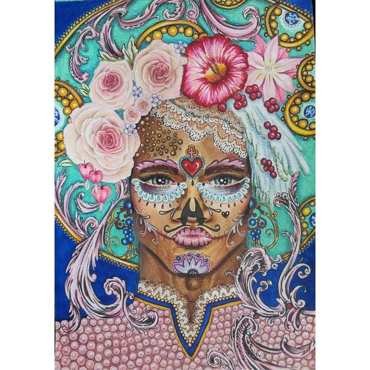 """Memory Lapse"" By Ruth Park. Original art. Copic markers and polychromos on A4 paper. Dia de los Muertos $200.00"