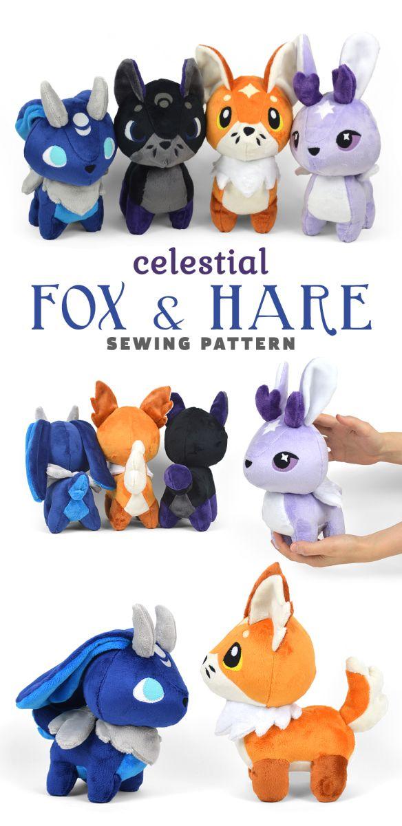 5546a01e6edb9 Fox and Hare Chibi Plush Sewing Pattern .pdf Tutorial | Cutest ...
