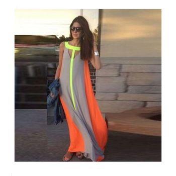 Vestidos летние женская платье макси длинное платье танк и жилет платья без рукавов v-образным вырезом лоскутная пят шифоновое платье YY1381-1