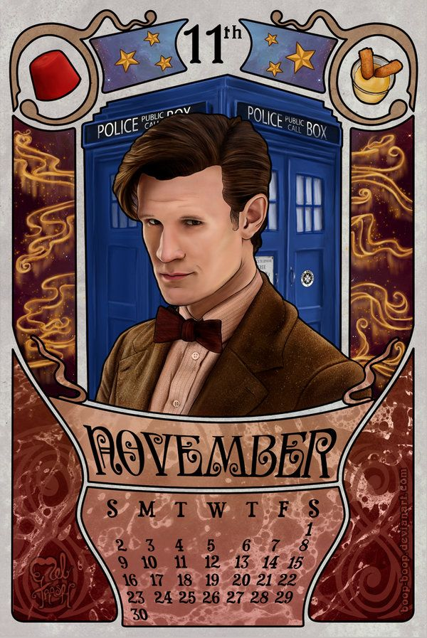 November month for the doctor who 2014 calendar with Matt Smith as the doctor. 11th Doctor by boop-boop.deviantart.com on @deviantART
