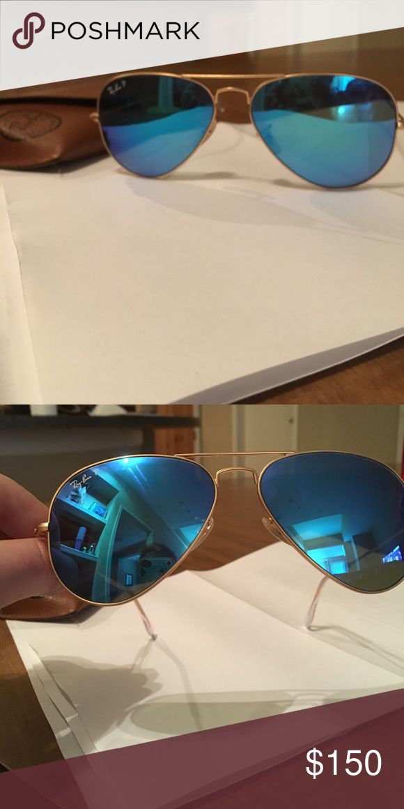 """RayBan Polarized Flash Aviators Large classic Ray Ban mirror aviator sunglasses. Lenses are POLARIZED with no visible signs of wear and tear or scratches. Blue/gold colors, approx measurement 5.25""""L,2""""W, 3.5"""" arms. 100% UVA/UVB protection. No trades please! Ray-Ban Accessories Sunglasses"""