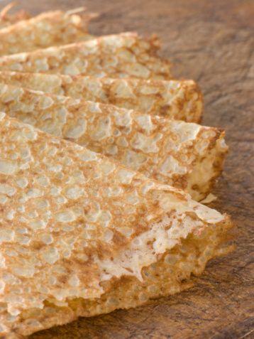 Tapioca flour pancakes- resemble my grandma's Russian crepes (blini)