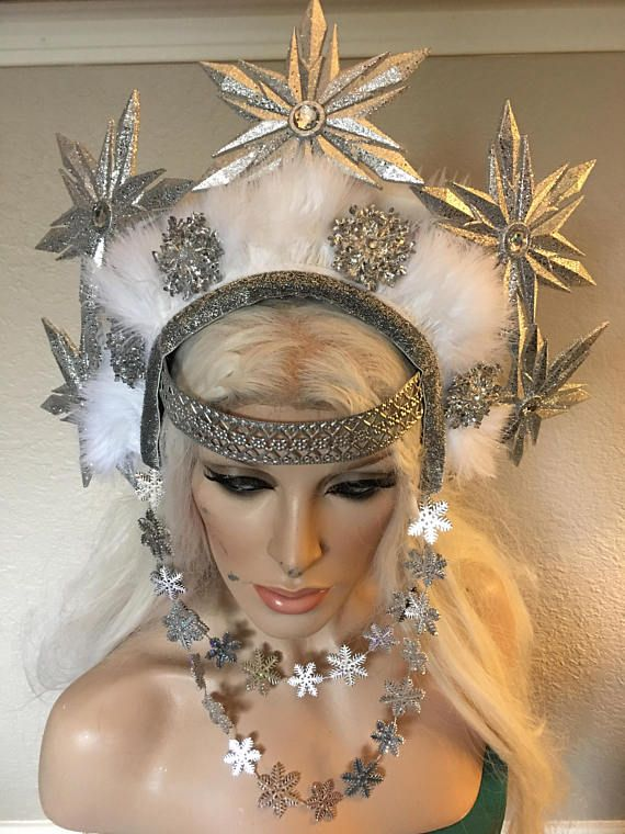 Headpiece produced by my apprentice, Jeremy Davis. This headpiece is made of lightweight materials. It has an elastic back to hold secure to your head.  Important information: *There is no tracking for international orders. All orders are shipped via USPS (United states postal