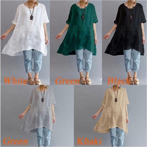 Boho Womens V Neck Print Tunic Tops Ladies Cotton Linen Loose Blouse Shirt 8-24