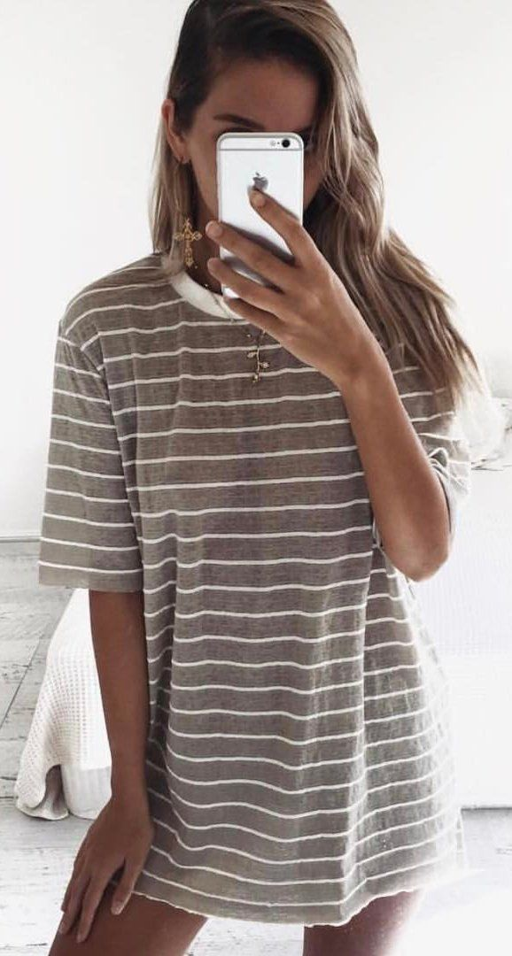 #summer #outfits  Grey Striped Tee Dress