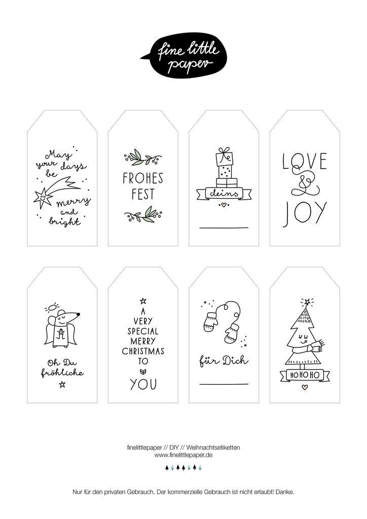 finelittlepaper christmas tags! free printables! http://www.finelittlepaper.de/weihnachtsanhänger.pdf