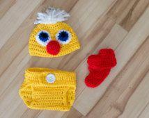 Traje de pato recién nacido 3pc prop foto recién nacido, traje de pato recién nacido, fotografía, pato fotos prop, traje de bebé pato, pato, prop de bebé de ganchillo