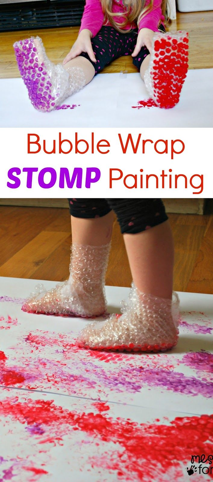 "make some bubble wrap ""boots"" then dip in paint and stomp around to create art!"