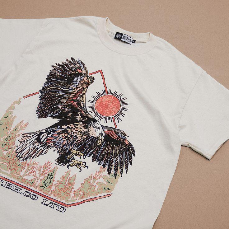 Eagle and The Sun - Natural T-Shirt - Artwork by Luke Dixon  #thebearhug #bearhug #TBHCO  #streewear #lukedixon #lukedixonartist