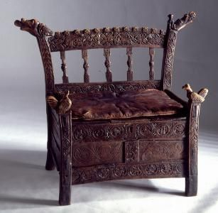 Grund chair I, Iceland. ca 1540. Sigurd Grieg 1928: 115 dates it to ca 1300. However, the paneled front points to later centuries. Sarpur - Stóll