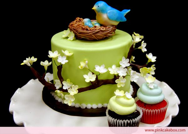 Blossom Bird's Nest Topper Cake » Custom Baby Shower Cakes