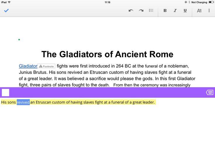 Typing on iPad.