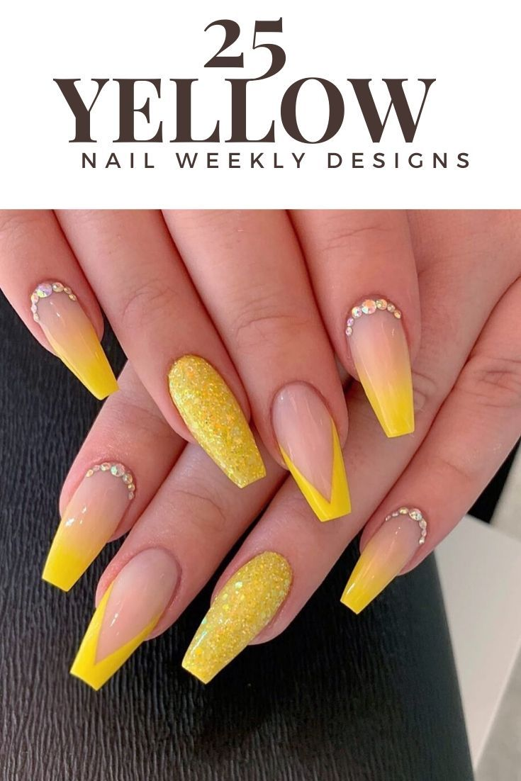Best Yellow Nails Design Ideas In This Week Yellow Nails Yellow Nails Design Summer Acrylic Nails
