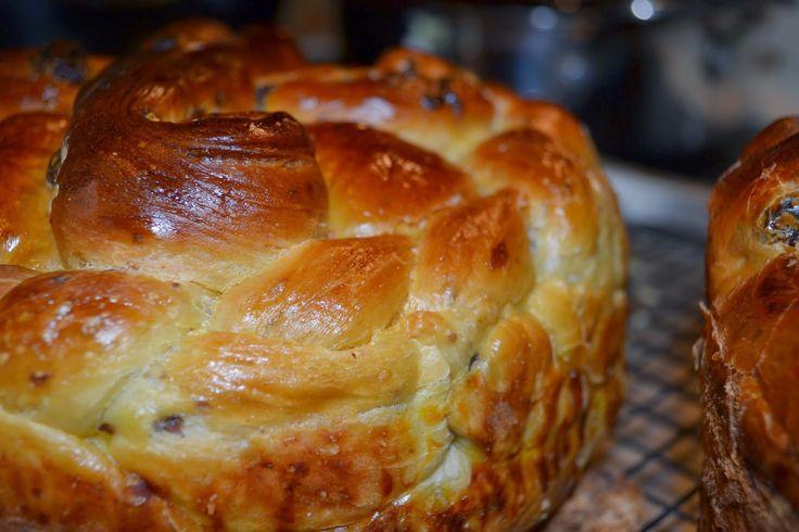 Paska Bread Makes 3 - 4 Large Loaves 10 – 12 cups flour 2 cups milk 8 eggs, beaten 1 cup sugar + 1 Tbsp 3 sticks oleo, so...