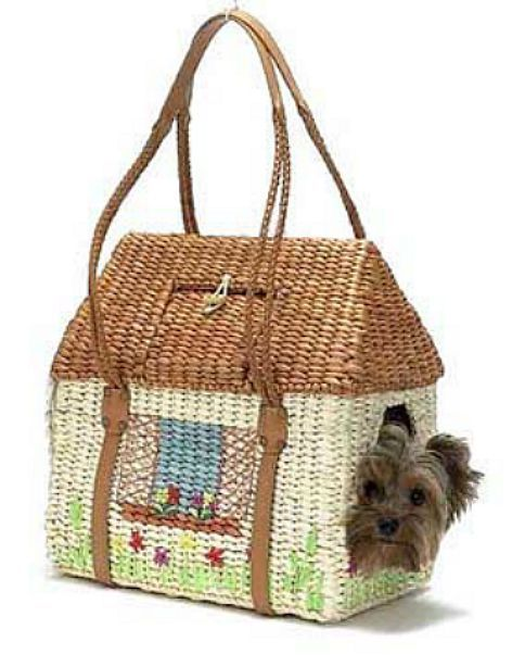 "Adorable Raffia ""House"" Pet Carrier for Small Pet"
