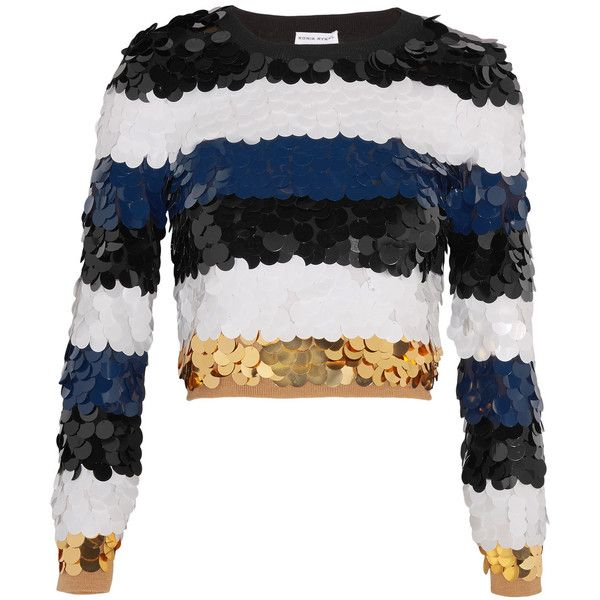 Sonia Rykiel Cropped sequined wool sweater (6.250 HRK) ❤ liked on Polyvore featuring tops, sweaters, shirts, striped sweater, stripe sweater, white sequin sweater, white wool sweater and layered sweater