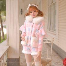 Candy rain gola de pele com capuz zipper bat manga curta splice mulheres lã casaco de inverno de pele de vison casaco casaco de pele de carneiro c16cd5007(China (Mainland))