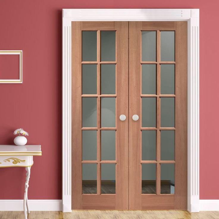 SA77 Mahogany Double Doors with Bevelled Clear Safety Glass. frenchdoors #mahoganydoor #frenchglazeddoors