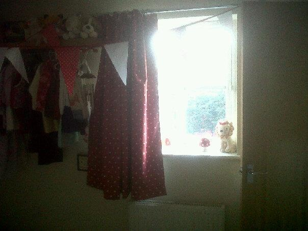 Couldn't find any curtains to match the toadstool theme in my daughters bedroom so I made these.  I fully lined them with blackout material in the hope that she would sleep past 5am.  They work wonderfully but she still wakes up!  I'm really pleased they way they co-ordinate with the bunting I made previously.