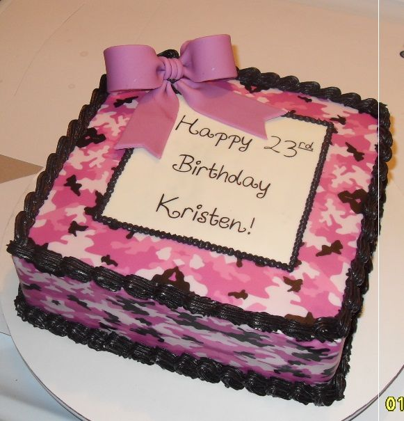 Astounding Pink Camo Cake With Fondant Bow Pink Camo Cakes Camo Cakes Funny Birthday Cards Online Overcheapnameinfo