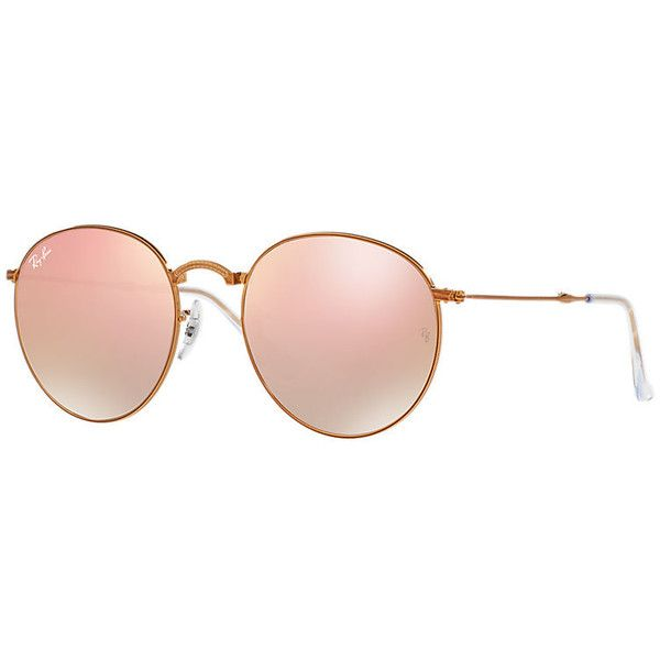 Ray-Ban Round Metal Folding Copper Sunglasses, Pink Lenses - Rb3532 ($225) ❤ liked on Polyvore featuring accessories, eyewear, sunglasses, copper, round lens glasses, ray ban sunglasses, round sunglasses, circular sunglasses and gradient sunglasses