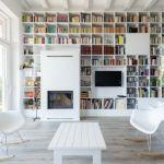 Bibliotheque sur mesure dans salon