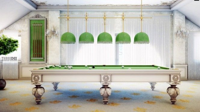Green Lights Above Green Table In Victorian Gentleman's Virtual Home. Now this is beautiful pool room!