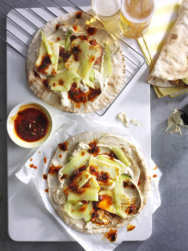 240 best easy every day recipes images on pinterest clean quick halloumi flatbreads with harissa dressing cucumber recipesmidweek mealsvegetarian forumfinder Image collections