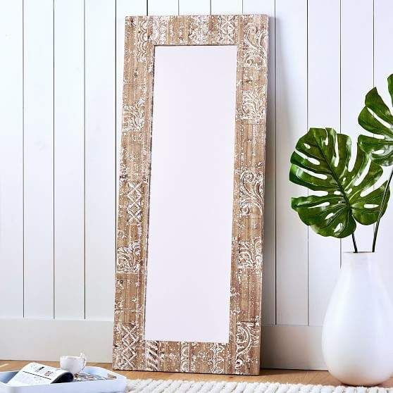 Carved Wood Floor Leaning Mirror Washed White Wood With